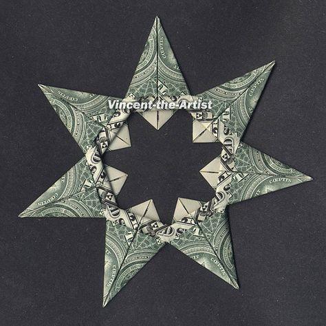 Items similar to 7 Point Star Money Origami Dollar Bill Religion Cash Sculptors Bank Note on Etsy