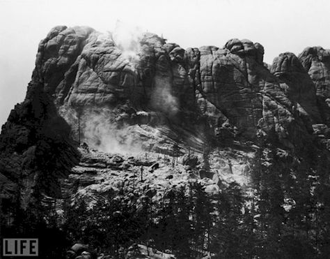 What the natural rock formation of Mount Rushmore looked like before it was carved.