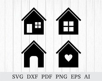 Sweet Home Digital Stamp Pack Black And White Clipart Etsy In 2020 House Clipart House Silhouette Clip Art