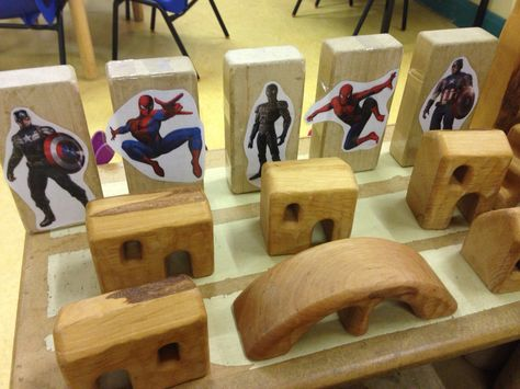 Spider man and captain America in our block area! Couldn't afford more small world things/action figures so made these instead. Hoping the boys will play small world Spider-Man instead of role play spider man!