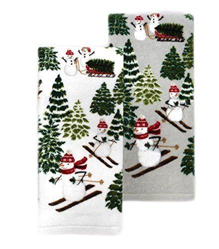 St Nicholas Square Snowman Kitchen Towels Set Of 2 Towel Set
