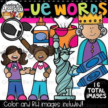 Words with -ue {Phonics Clipart} | Clip art for teachers / Creating4