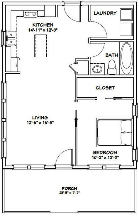 24x30 House -- 1-Bedroom 1-Bath -- 720 sq ft -- PDF Floor Plan -- Instant Download -- Model 2B
