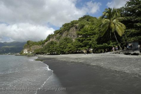 The beach of Saint-Pierre, covered with black sand ...