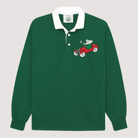 Notes Super heavyweight (400g / 14 oz.) rugby jersey with embroidered Babar sportscar illustration. Handmade in Europe. 100% cotton, knitted in the traditional 12 gauge style. Stunning material and craftsmanship. Feels incredible. Details Rugby collar; three-button placket; gorgeous rib knit cuffs. Size & Fit More fitted than our dad rugbies and soccer shirts. We recommend sizing up for a looser fit. Provenance Babar the elephant first appeared in the 1931 French children's book Histoire Indie Outfits, Cute Outfits, Fashion Outfits, Womens Fashion, 90s Fashion, Girl Outfits, Rowing Blazers, Green Suit, Soccer Shirts