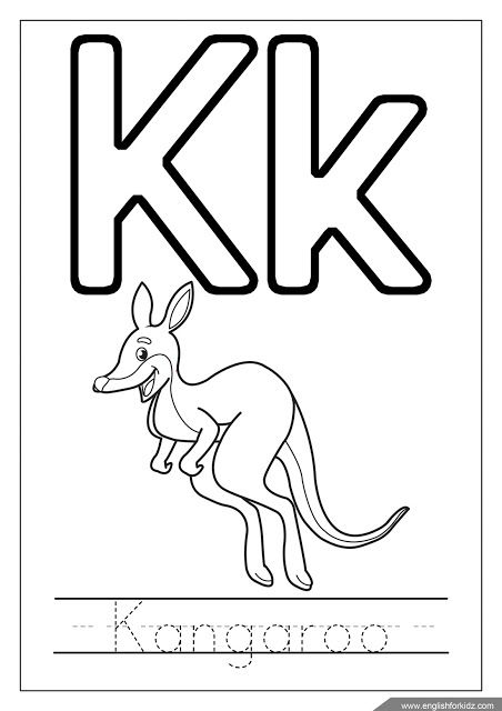11+ K is for kangaroo coloring page info