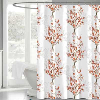 Brielle 72 Inch X 72 Inch Fabric Shower Curtain In White Orange