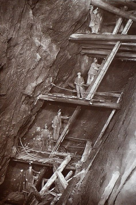 His pictures highlight how the mines were constructed and the precarious-looking wooden beams and ladders installed underground. | Rare Flash Photography Shows Cornish Miners In The 1890s Toiling Deep Underground