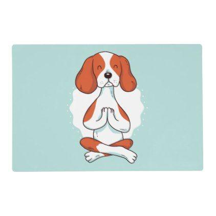 Dog Yoga Placemat Dog Yoga Animal Yoga Dog Illustration