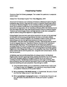 Paraphrasing Practice Research Paper Beginning Writing Teaching Huckleberry Finn Paraphrase