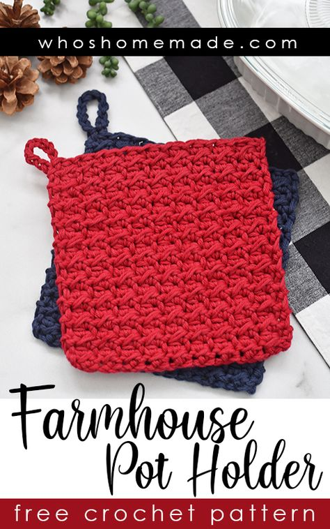 Farmhouse Pot Holder Free Crochet Pattern This pot holder crochet pattern is quick, easy, and beginner friendly! Perfect for stocking stuffers, holiday gifts, or for craft markets! The pattern takes l Crochet Pig, Crochet Easter, Crochet Hot Pads, Crochet Home, Diy Crochet, Crochet For Beginners, Beginner Crochet Projects, Crochet Basics, Crochet Accessories