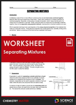 Worksheet Separation Techniques For Separating Mixtures