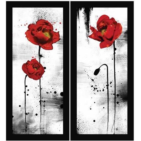 Black And Red Wall Art Set Of 2 Red Wall Art Red Abstract Art Red Painting
