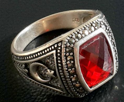 Turkish Style Handmade Dyed Ruby /& Emerald Silver Plated-Brass Ring Size 6.5 US Exotic