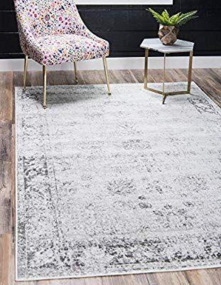 Amazon Com Unique Loom Sofia Traditional Area Rug 8 0 X 11 0 Gray Kitchen Dining In 2020 Area Rugs Unique Loom Grey Area Rug