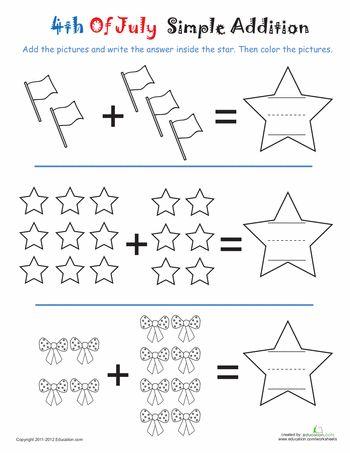 Addition 4th Of July Stars Worksheet Education Com Fun Worksheets Fun Math Preschool Math Fun