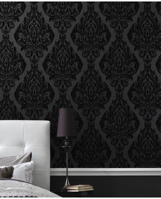 AHH Love the black on grey wallpaper! ... bedroom wall here ...