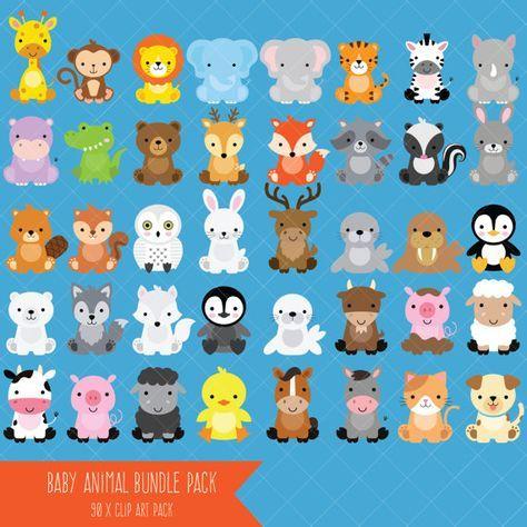 Baby Animal Clipart Bundle Safari Animals Woodland Animals Farm Animals Arctic Animals Safari Baby Animals Cute Animal Clipart Animal Clipart