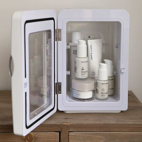 Skincare fridge goals!!!!! Anyone still on the hunt for the perfect skincare fridge?  Ive tried a fair few and the @vanityplanetstore one is lightweight spacious and has a minimal design to compliment any room its placed in  Actually loving vanity planet so much at the moment. Their reverse range that features a low percentage retinol is such a great starting point for anyone looking to begin the reverse ageing process  . . . . #bbloggers #beautybloggers #flatlay #skincare #instabeauty #itgtopsh