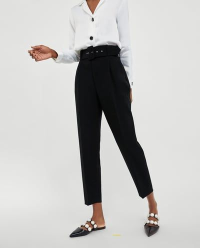 Image 2 Of Trousers With Belt From Zara Ropa Pantalones Zara Moda Y Complementos