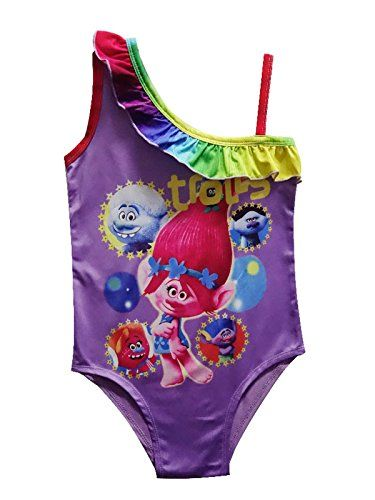 6a0c5f7b29d Wengift Swimwear Wengift Trolls One Piece Swimsuit Ruffle One Shoulder Girls  Princess Swimwear