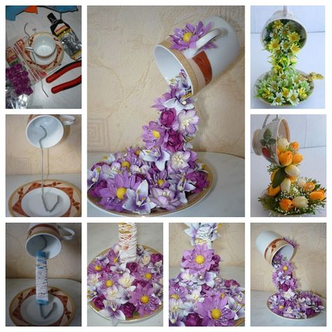 """<input class=""""jpibfi"""" type=""""hidden"""" >This topiary flower flying cup decor are so unique and pretty! Whether you display living room or dining room, table or window , they grab attention and lend beauty to any room. Materials: Coffee/tea cup set Artificial flowers (easy to get in local stores) Wire (spoon or flat wire works better) Paper and thread Scissors…"""