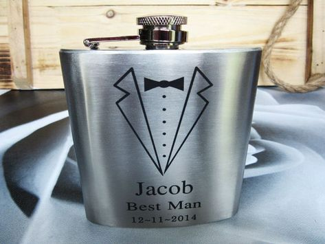 Set of 6 Groomsmen Gift Flask with Tuxedo by weddingpartygifts