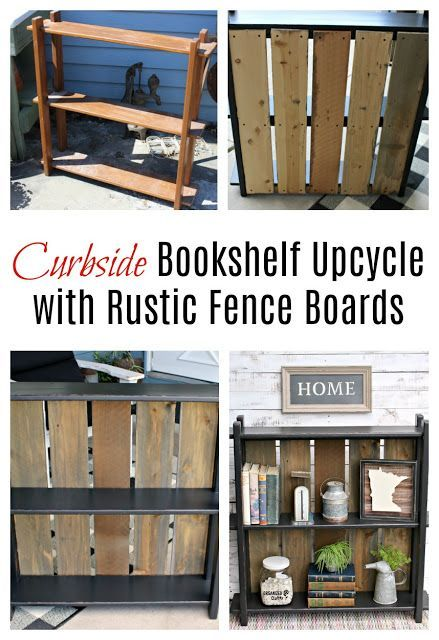 Upcycled Rustic Bookshelf With Rough Sawn Fence Board Back Bookshelves Diy Rustic Bookshelf Rustic Furniture Stores