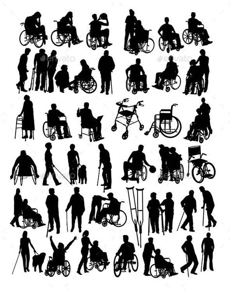 Disabled People Silhouettes Silhouette People Disability Art Person Silhouette