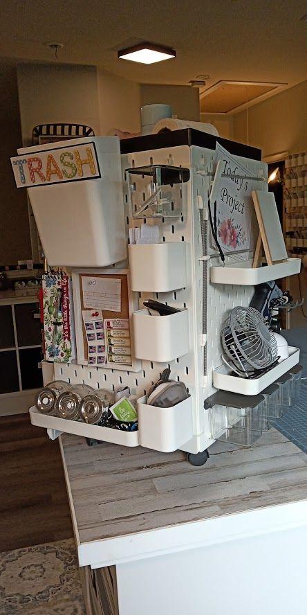 Craft Desk Organizer Hack Using Skadis Pegboard Ikea Hackers In 2020 Desk Organization Craft Desk Desk Organization Ikea