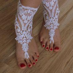 Fildişi ve beyaz düğün dantel, sandalet, ücretsiz gemi,