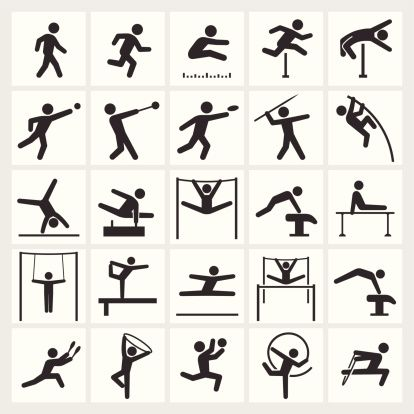 Athletics Artistic And Athletic Gymnastics Black White Icon Set Sports Graphic Design Gymnastics Gymnastics Logo