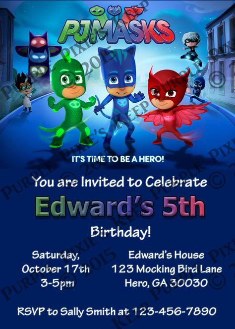 Pj Masks Invitation Template Free Unique P J Masks Birthday Party Invitation by Purplepixieskeep
