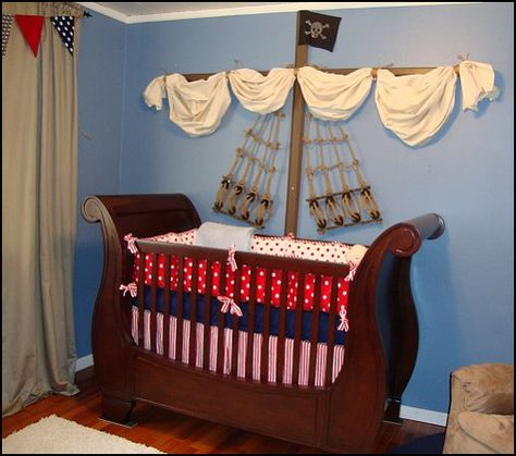 unique baby nursery decor   Pirate themed nursery for Parker - lots more pictures here