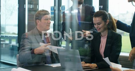 4K Corporate business team in a meeting, young businesswoman smiling at camera Stock Footage #AD ,#meeting#young#team#Corporate