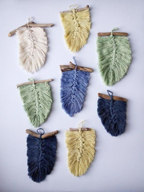 Macrame Wall Hanging by Harpy Knot, Colored Feather, Boho Home Decor, READY TO SHIP