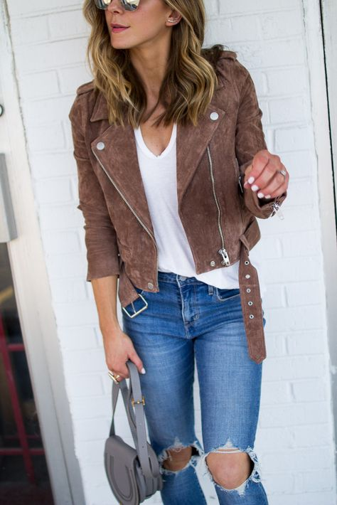 BLANKNYC Suede Moto (wearing size small)// V-Neck Tee (under $30) // Jeans…