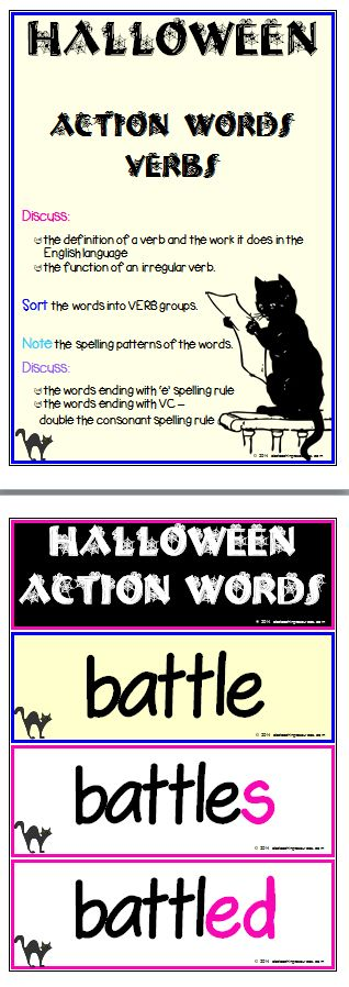 Halloween Spooky Sounds Word List Card A u0027Spooky Sounds - action words list