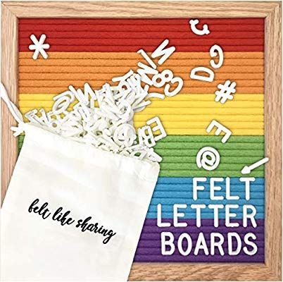 Amazon Com Rainbow Colorblock Felt Letter Board 10x10 Inches Changeable Letter Boards Include 300 White Plast Felt Letters Felt Letter Board Plastic Letters