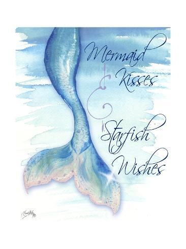 size: 24x18in Art Print: Mermaid Tail I (kisses and wishes) by Elizabeth Medley :