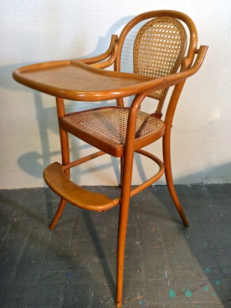 Thonet Mid Century Modern Bentwood Baby Highchair With Original Cane, Tray, Leather  Strap