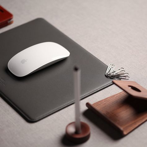 Leather Mouse Pad with Magnetic Cable Management