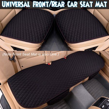 1 2 3 Pcs Front Rear Car Seat Cover Universal Flax Breathable Vehicle Comfortable Seat Pad Mat Cushion Black Multi Comfortable Seating Seat Pads Carseat Cover