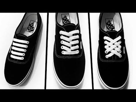 How to Diamond Lace shoes YouTube Slik knytter du sko, m?ter  How to tie shoes, Ways