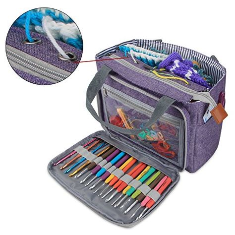 Knitting Tote Bag Organizer for Crochet Hooks and Su... Teamoy Yarn Storage Bag