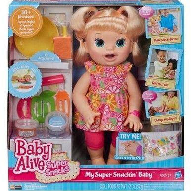 Baby Alive Snackin Sara Blonde As Shown Baby Alive Doll Clothes Baby Dolls For Kids Baby Alive Food