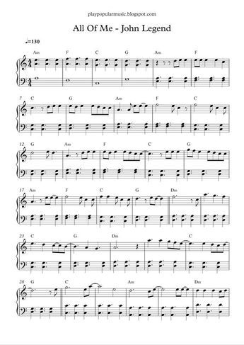 All Of Me John Legend Piano Sheet Music Free Easy Piano Sheet