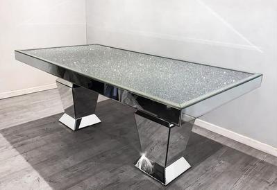 Diamond Crush Large Mirrored Dining Table 180 Cm X 90 Cm