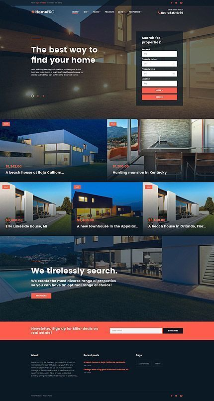Real Estate Most Popular Espresso Web Inspiration At Your Coffee Break Bootstrap Template 61406 With Images Real Estate Website Design