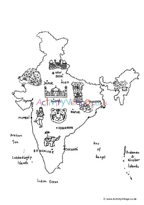 India Map Colouring Page India Map Coloring Pages Map